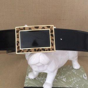 OSCAR XL/black patent leather belt w/animal print